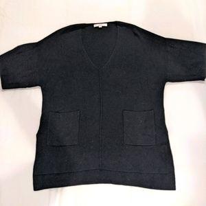 Loft Black Ribbed V-neck Oversized Sweater